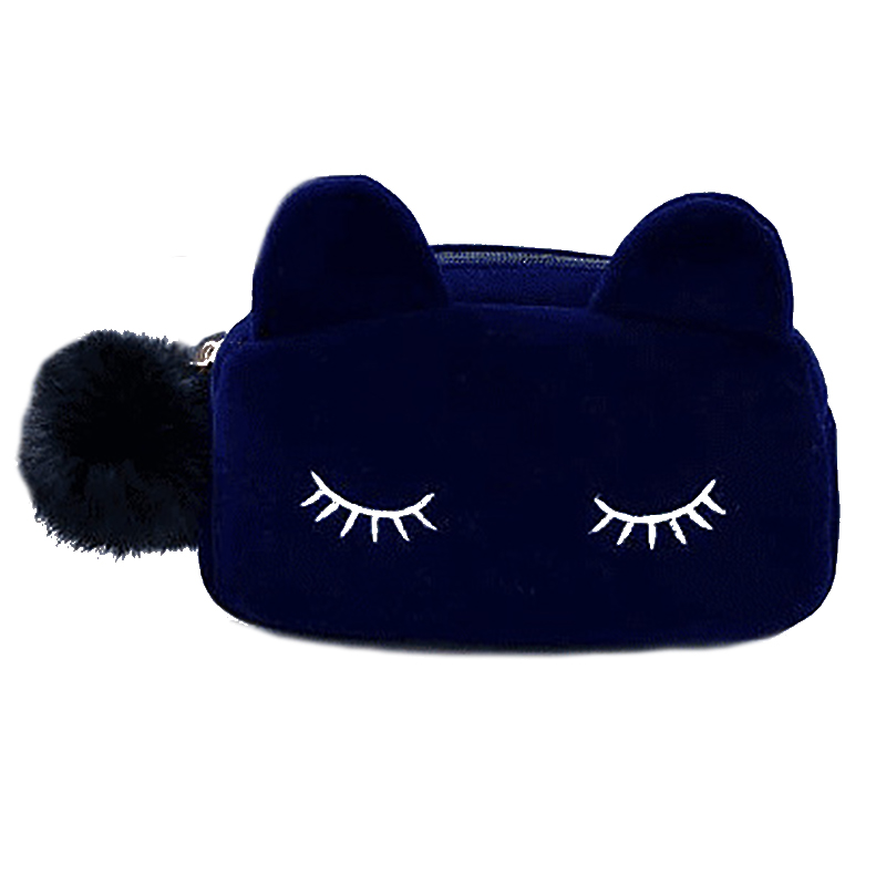 7286132f5f7 New Cosmetic & Makeup Bag Fashion- Cute Cat Velvet Travel Bag ...