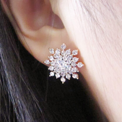 Earrings For Girls -Crystal Snow Flake Design