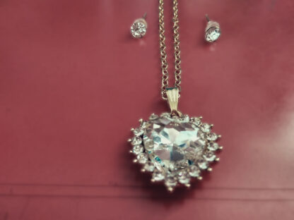 Gold Plated Love Necklace Heart Shape With Earrings 4