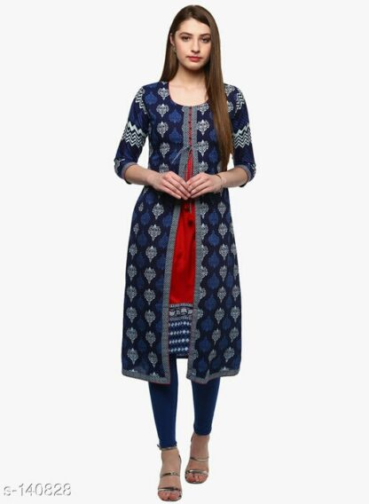 Long Kurtis Online Beautiful High Quality With Attached Jacket