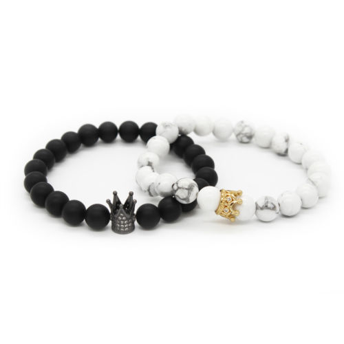Relationship Bracelets For Couples His And Hers Bracelets Black & White Beads
